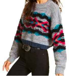 Free People Fair Isles I Heart You Cropped Sweater